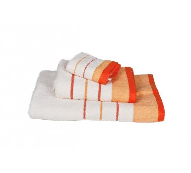 Πετσέτες Πισίνας Pool Stripe Line Ivory-Orange550Gsm Cotton Blanc de Blanc (80x145) 1Τεμ
