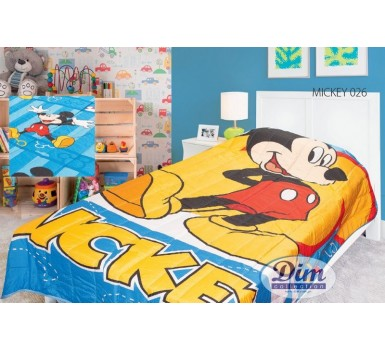 Κουβερλί Παιδικό Μονό Disney Digital Print Double Faced Mickey 026 Micropercal Dim Collection (160x250) 1Τεμ