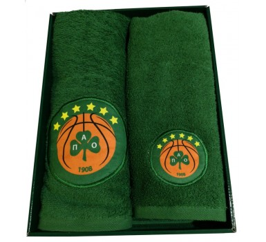 Πετσέτες Βρεφικές Σετ Baby Towels Panathinaikos B.C. Official Six Stars Le Blanc 2Τεμ