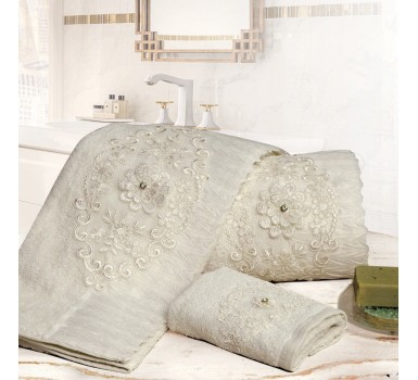 Πετσέτες Σετ Wedding Bath Towels Natalie Cotton Sb Concept 3Τεμ