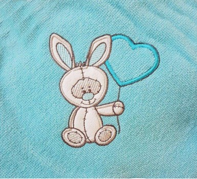 Κάπα Βρεφική Baby Bath Rabbit Turquoise Applique Cotton Viopros 1Τεμ